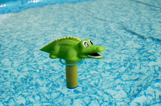 hračka krokodýl na hladině bazénu
